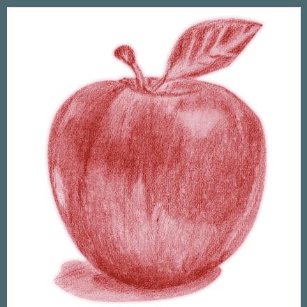 手描き風のアートでかわいいりんごのデッサンtシャツ