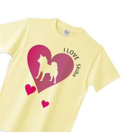 イエロー柴犬ハートマークtシャツ