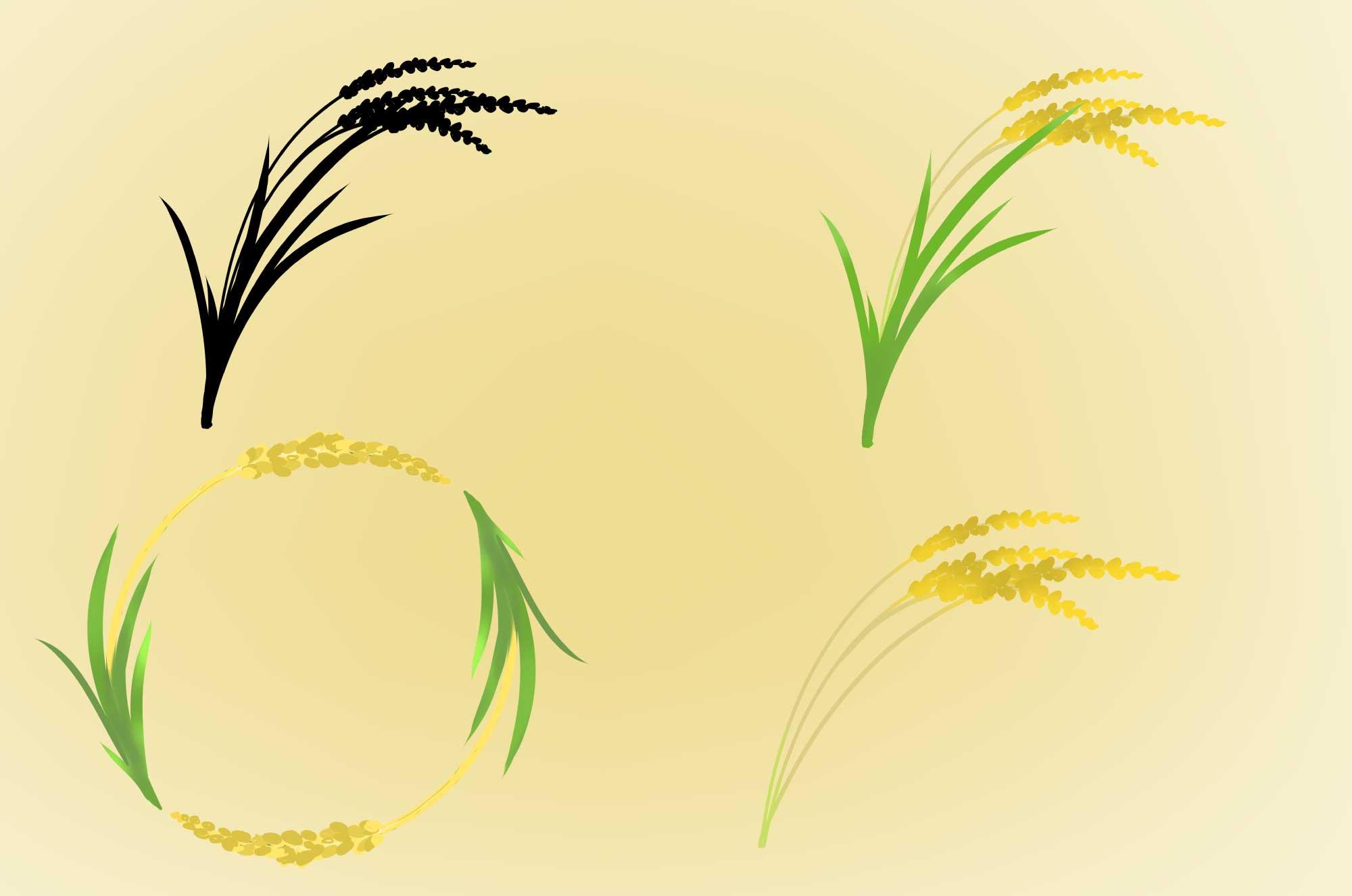 稲穂のフリーイラスト - 可愛い黄金の稲の無料素材