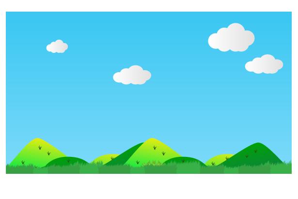 雲と田舎の風景のイラスト