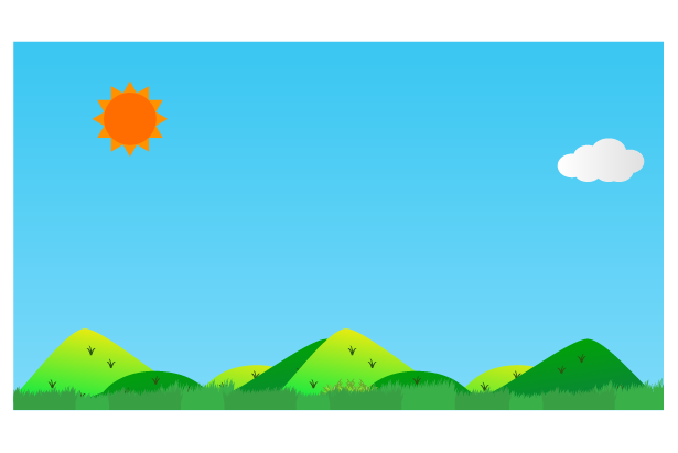 太陽と田舎の風景のイラスト