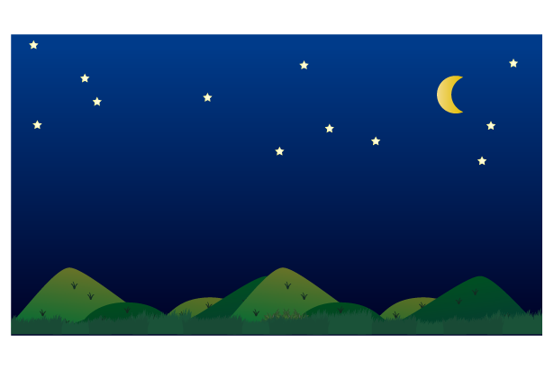 夜の田舎の風景のイラスト