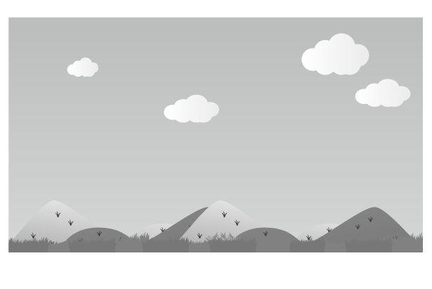 白黒の田舎の風景のイラスト