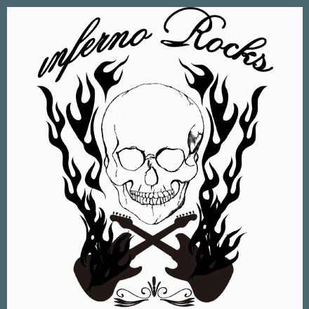 インフェルノロックギターTシャツ濃色/淡色★ギターとスカルのパンクロックTシャツ