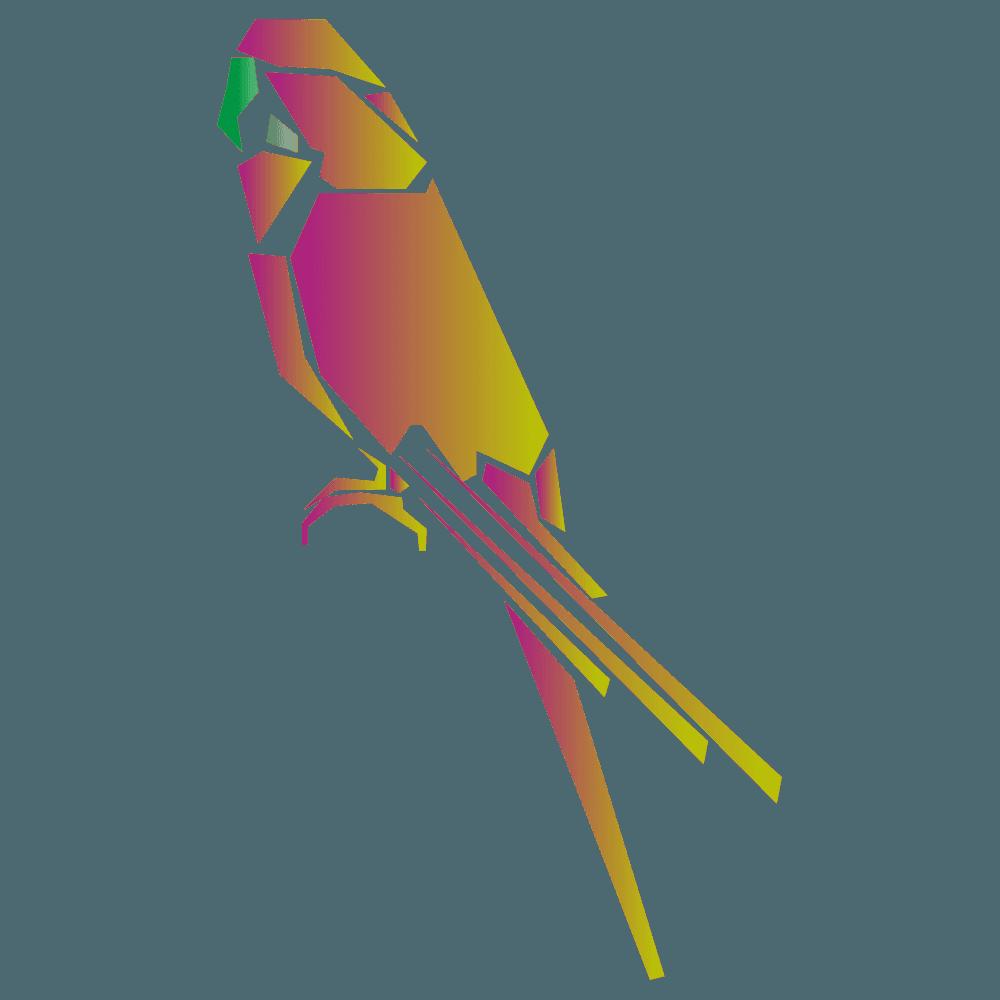 カラフルな暖色系のインコイラスト