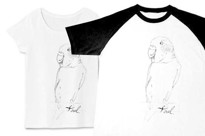 鉛筆手書きのインコTシャツ