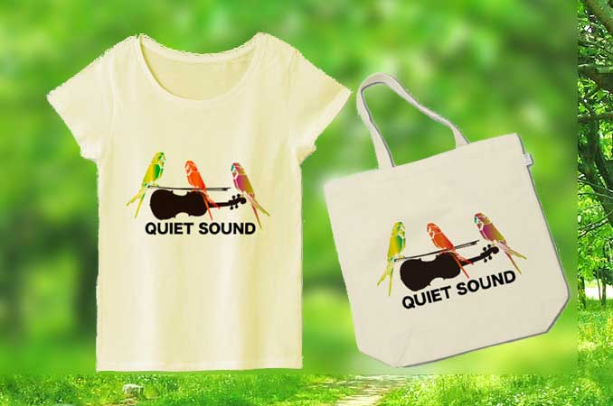 バイオリンとインコの音楽TシャツインコTシャツ