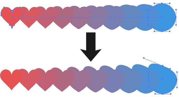 終点のオブジェクトをダイレクト選択ツールで変形