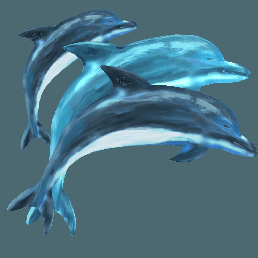 水彩画のイルカの群れのイラスト