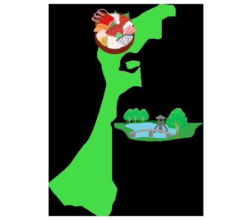 兼六園と海産と石川の大陸図(地図)のイラスト