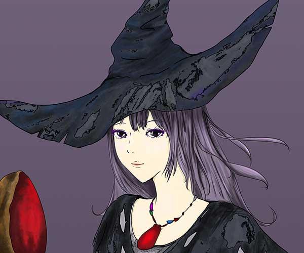 フォトショップで加工して描いた魔女のイラスト