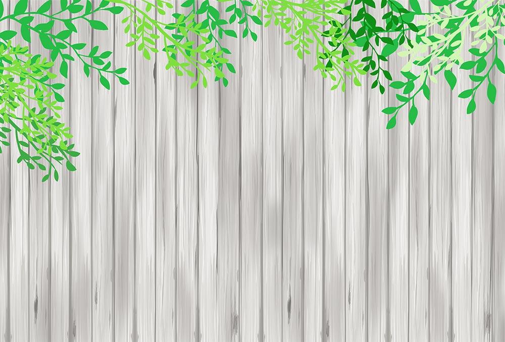 板と葉の背景(グレー)のイラスト