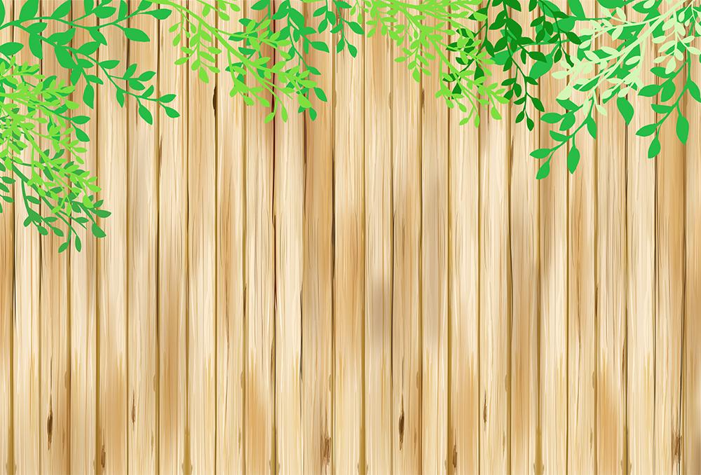板と葉の背景(茶色)のイラスト