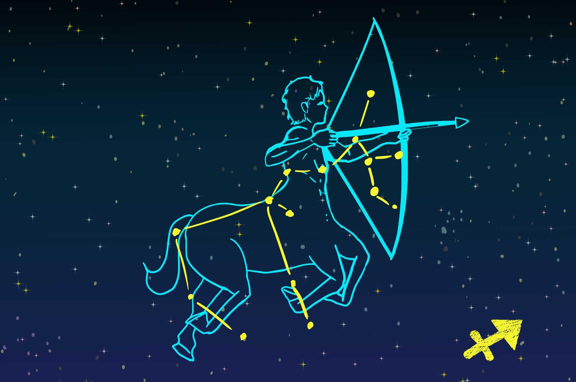 射手座のイラスト - かっこいい神話の星座無料素材