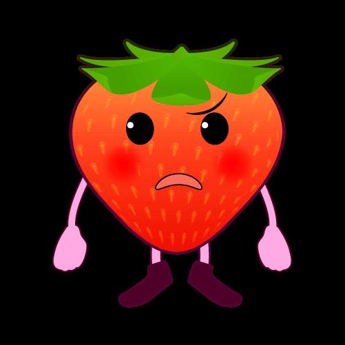 怒るいちごのイラスト