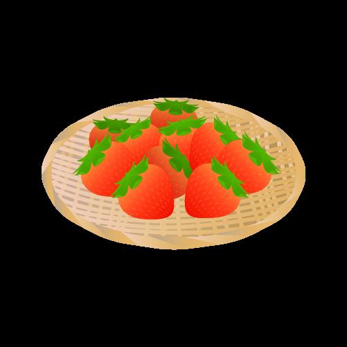 ザルに盛られたいちごのイラスト