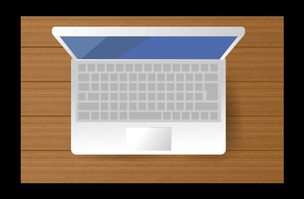 上から見たパソコンのイラスト