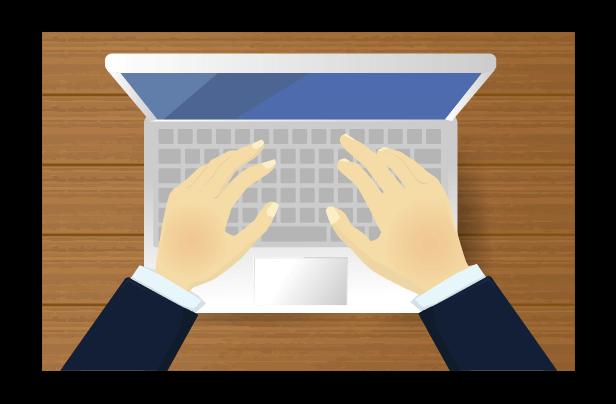 ビジネスマンとパソコンのイラスト