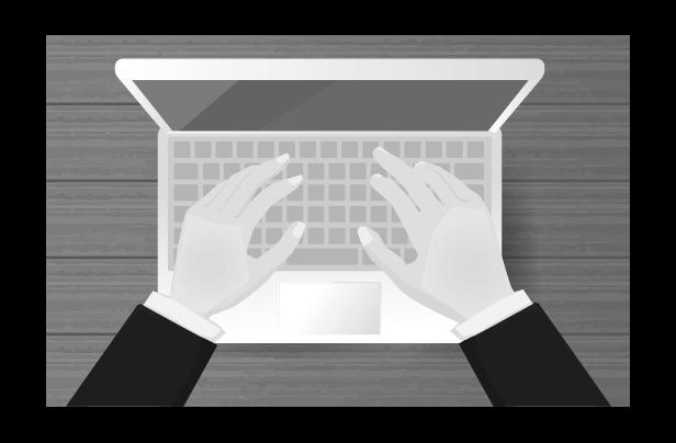 ビジネスマンとパソコン(白黒)のイラスト
