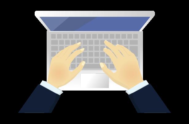 ビジネスマンとパソコン(透過)のイラスト