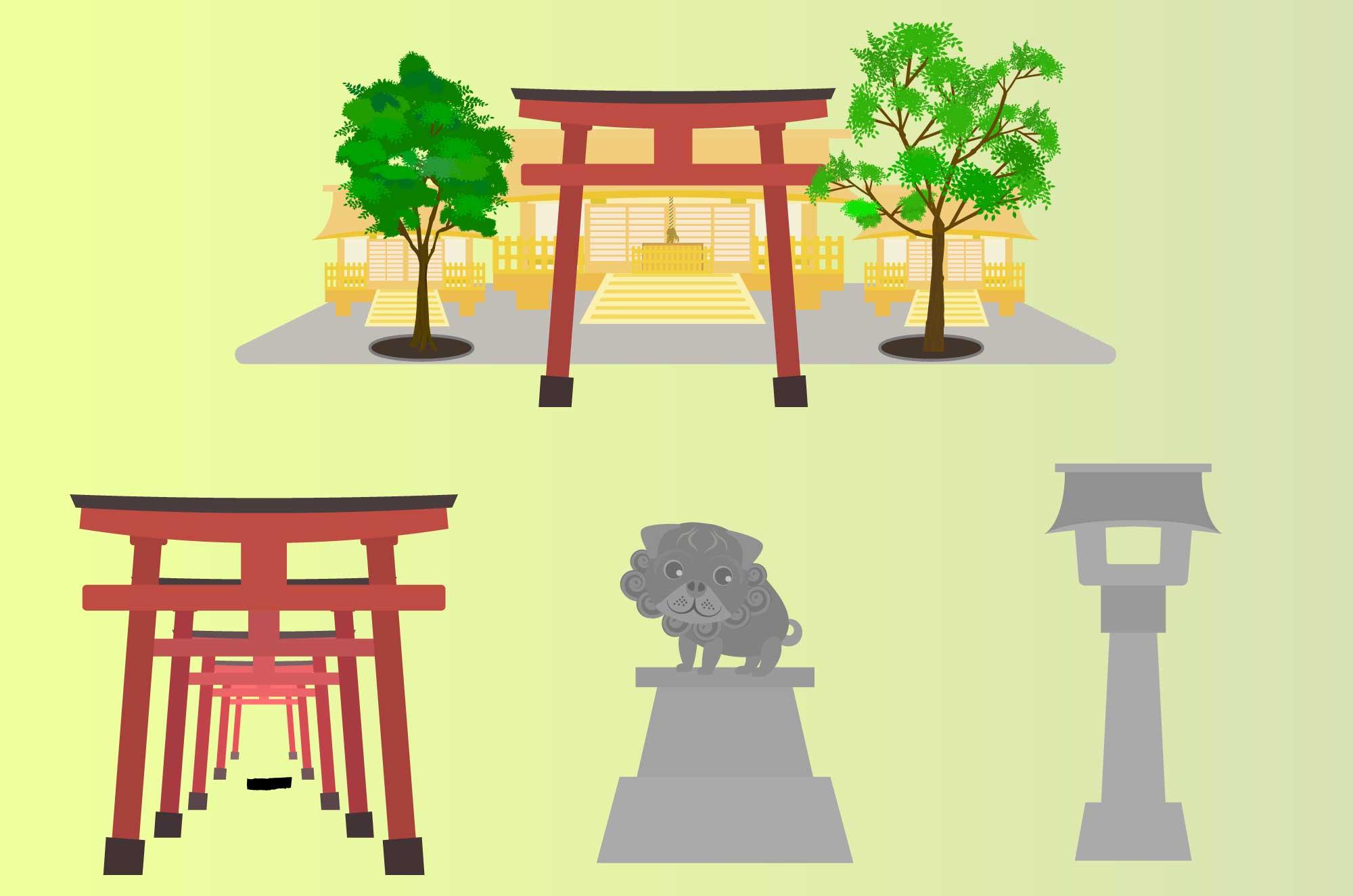 神社イラスト - 無料の境内・鳥居の建物フリー素材