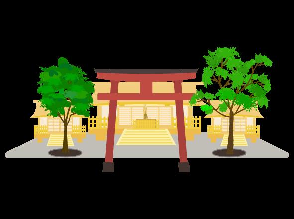シンプルな神社と境内のイラスト