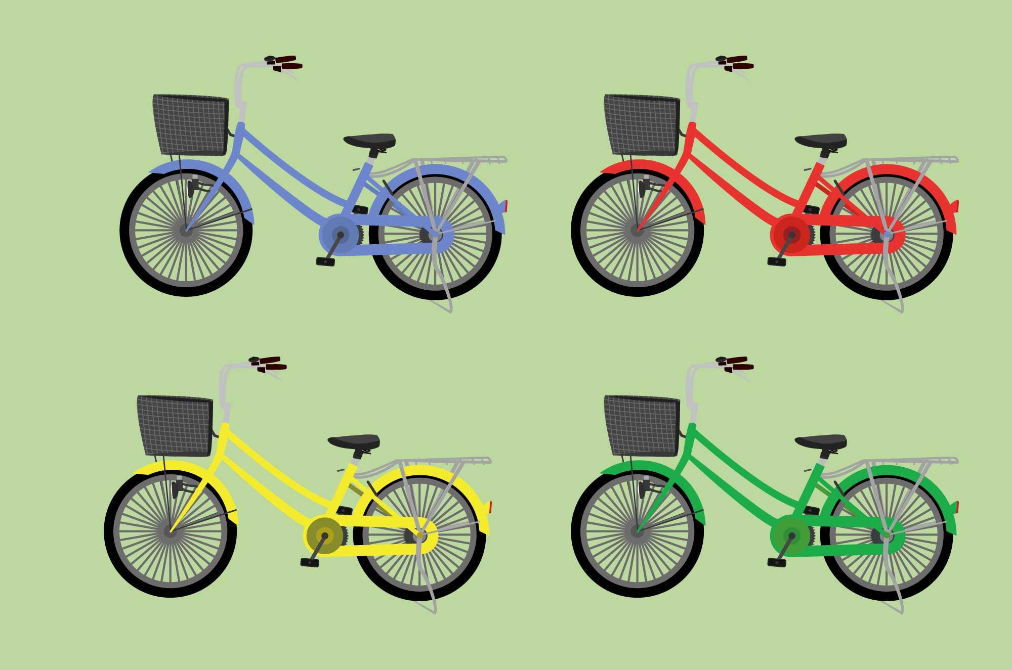 可愛い自転車の無料イラスト - 身近な乗り物素材