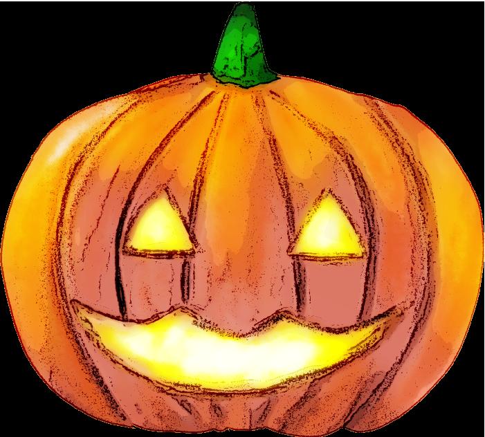 ジャック・オー・ランタンのイラスト(おばけかぼちゃのみ)