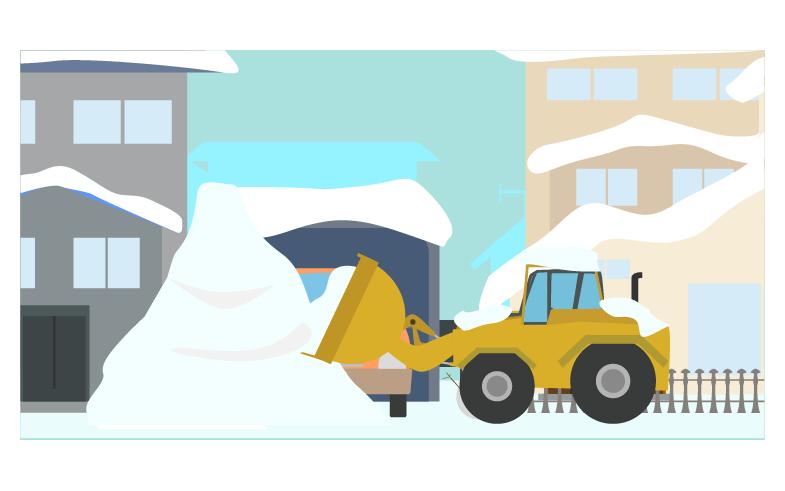 雪を集める除雪車のイラスト