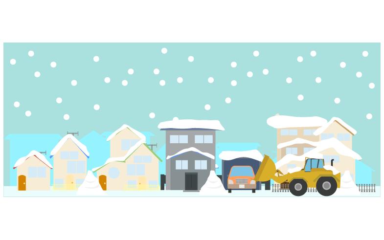 除雪する除雪車のイラスト