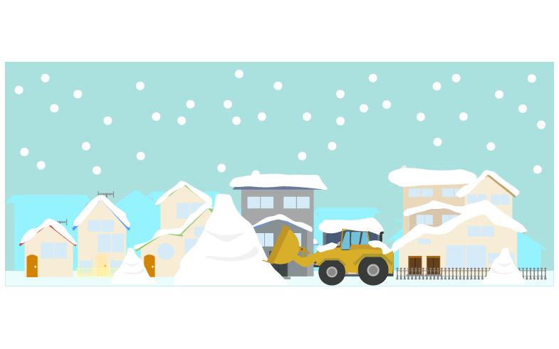 大きい雪山と住宅街のイラスト