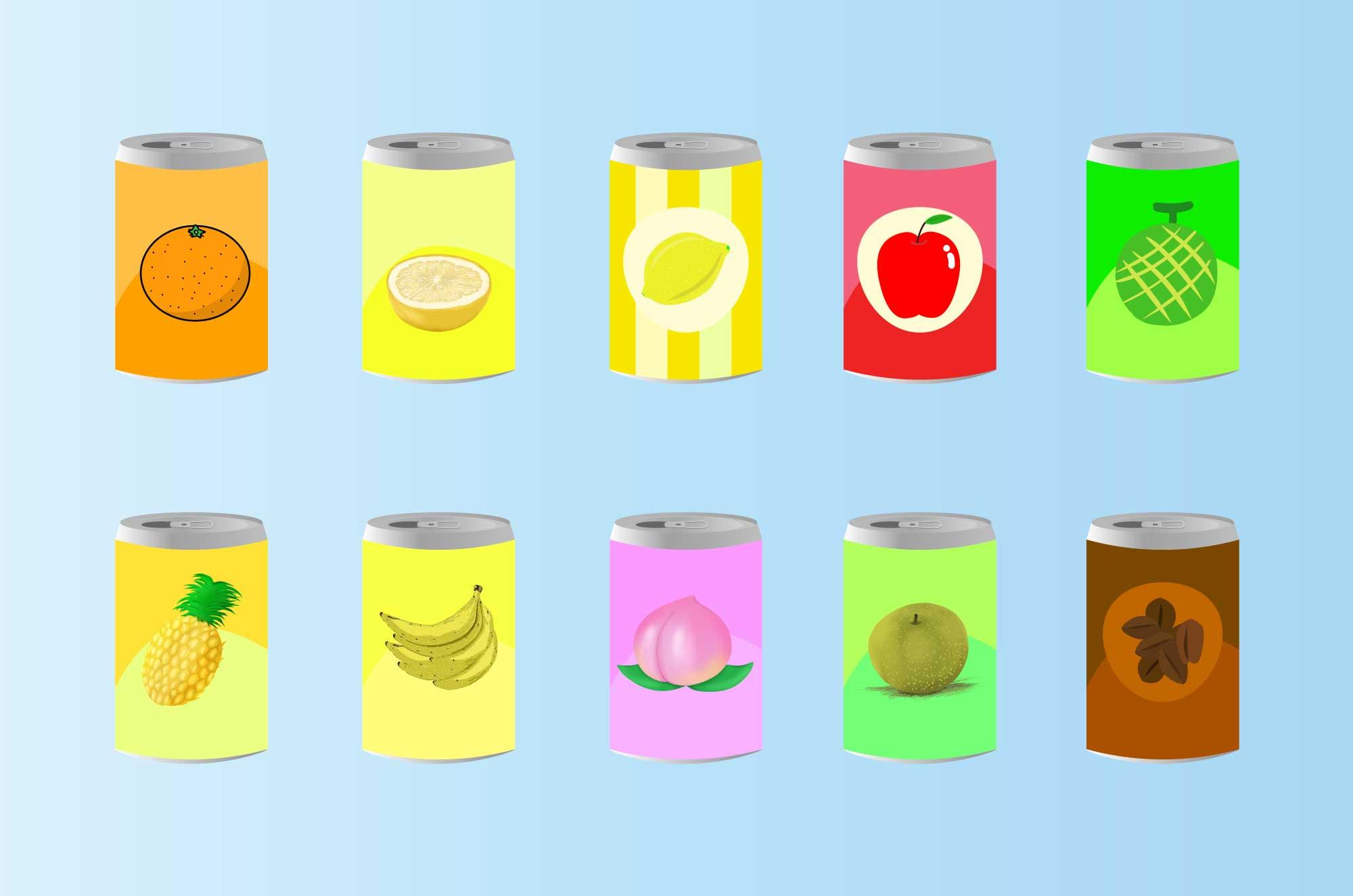 ジュースの無料イラスト - 缶の飲み物イメージ素材