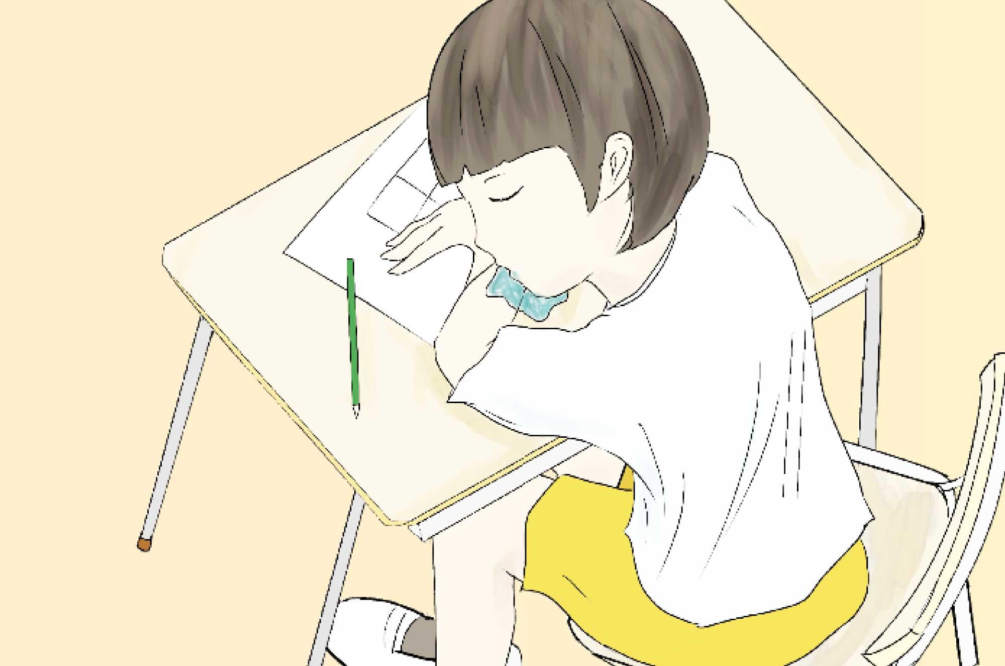 授業中に寝ている小学生のイラスト - 学校の無料素材