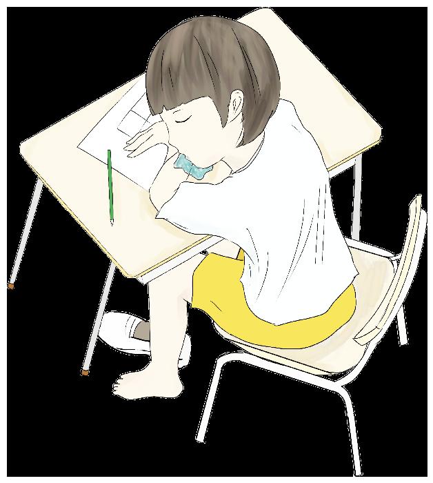 学校で居眠りしている小学生のイラスト