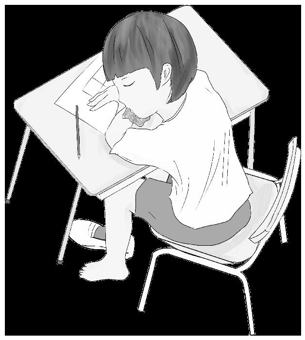学校で居眠りしている小学生のイラスト(白黒用)