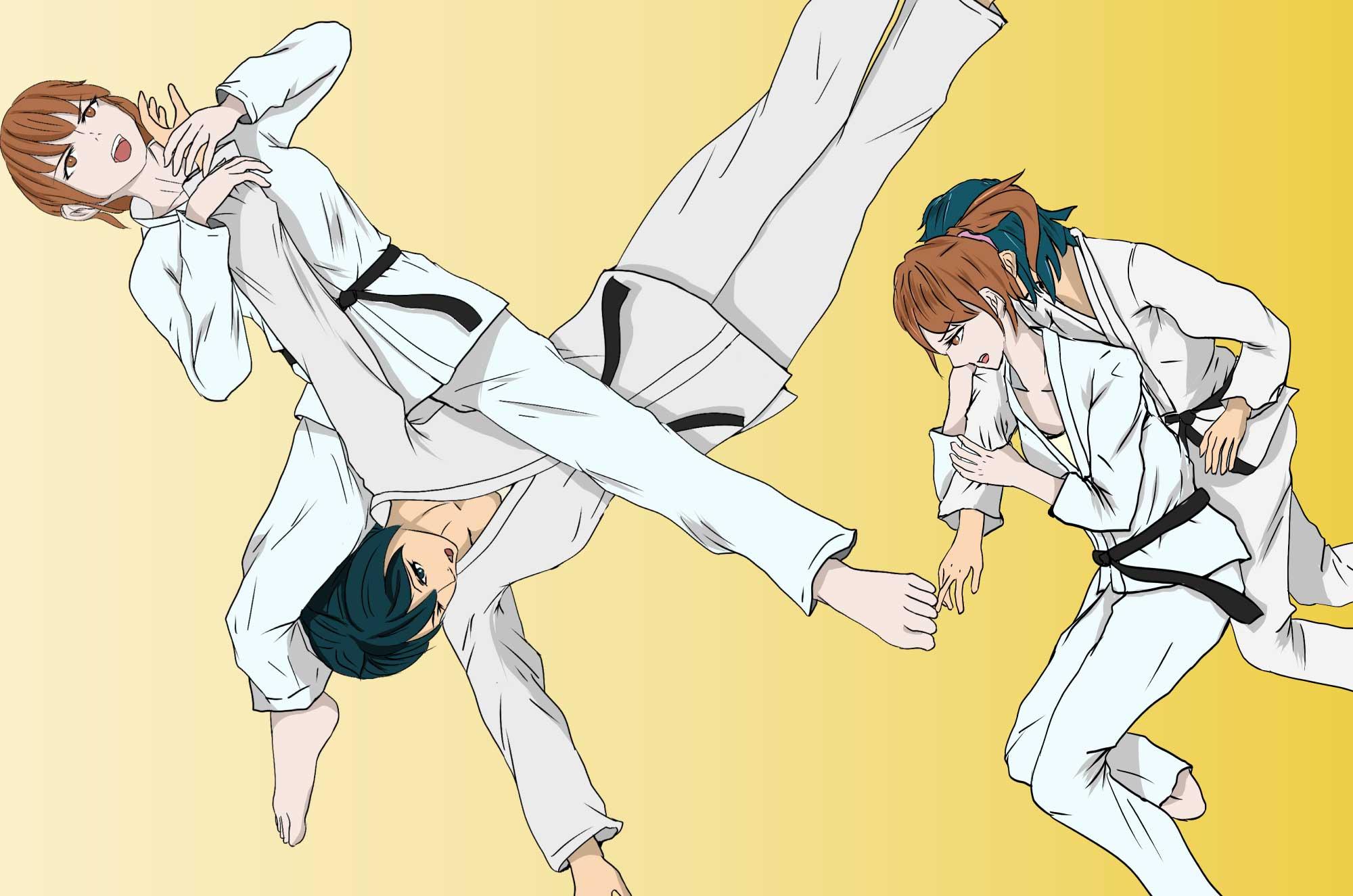 柔道の無料イラスト - 日本の格闘技のフリー素材