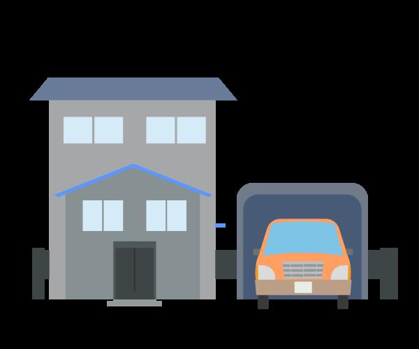 ガレージと住宅のイラスト
