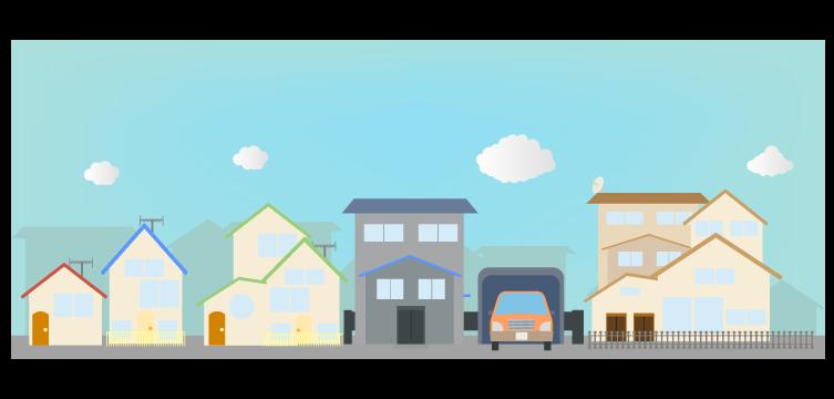 住宅街のフリーイラスト 街並みの背景の建物素材 チコデザ