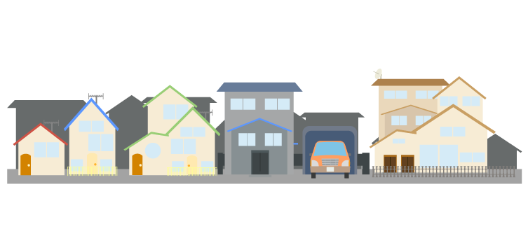 背景のない住宅街のイラスト
