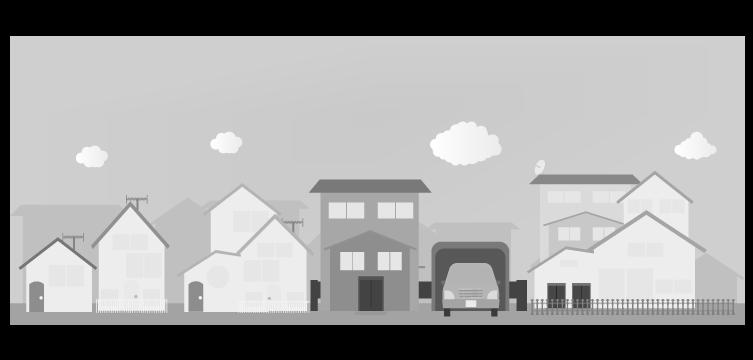 白黒の住宅街のイラスト