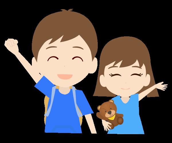 笑顔の兄弟のイラスト