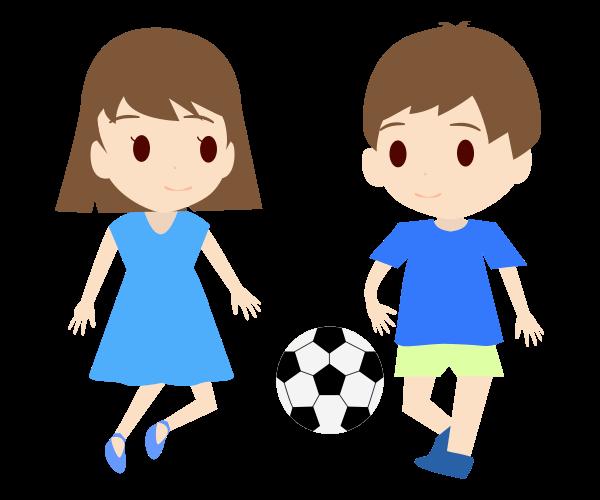 サッカーする子供のイラスト