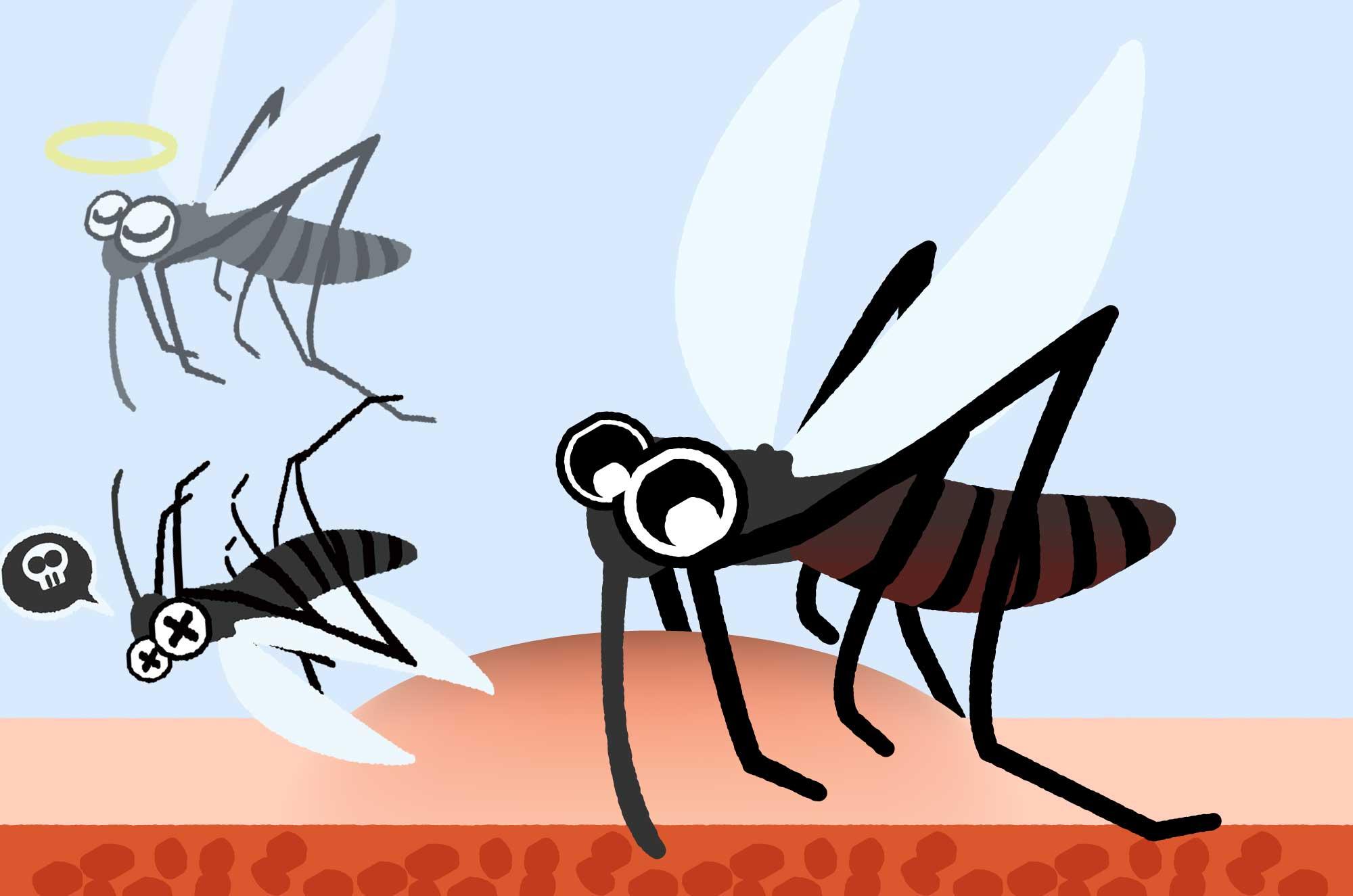 可愛い蚊のイラスト - 蚊取り線香と虫の無料素材