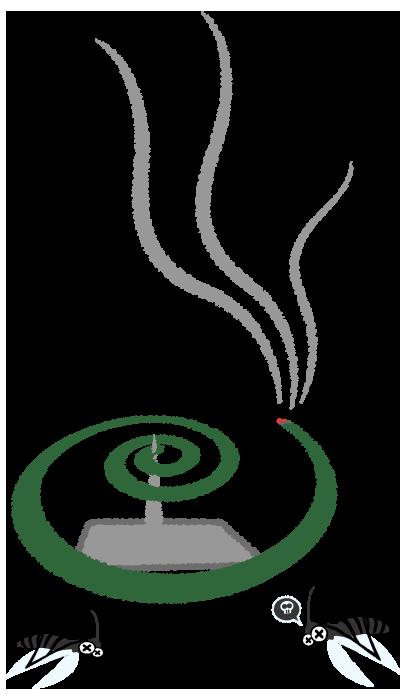 蚊取り線香にやられる蚊のイラスト