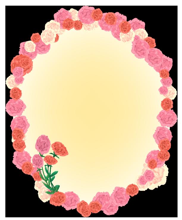 カーネーションの楕円丸フレーム(背景あり612×739)