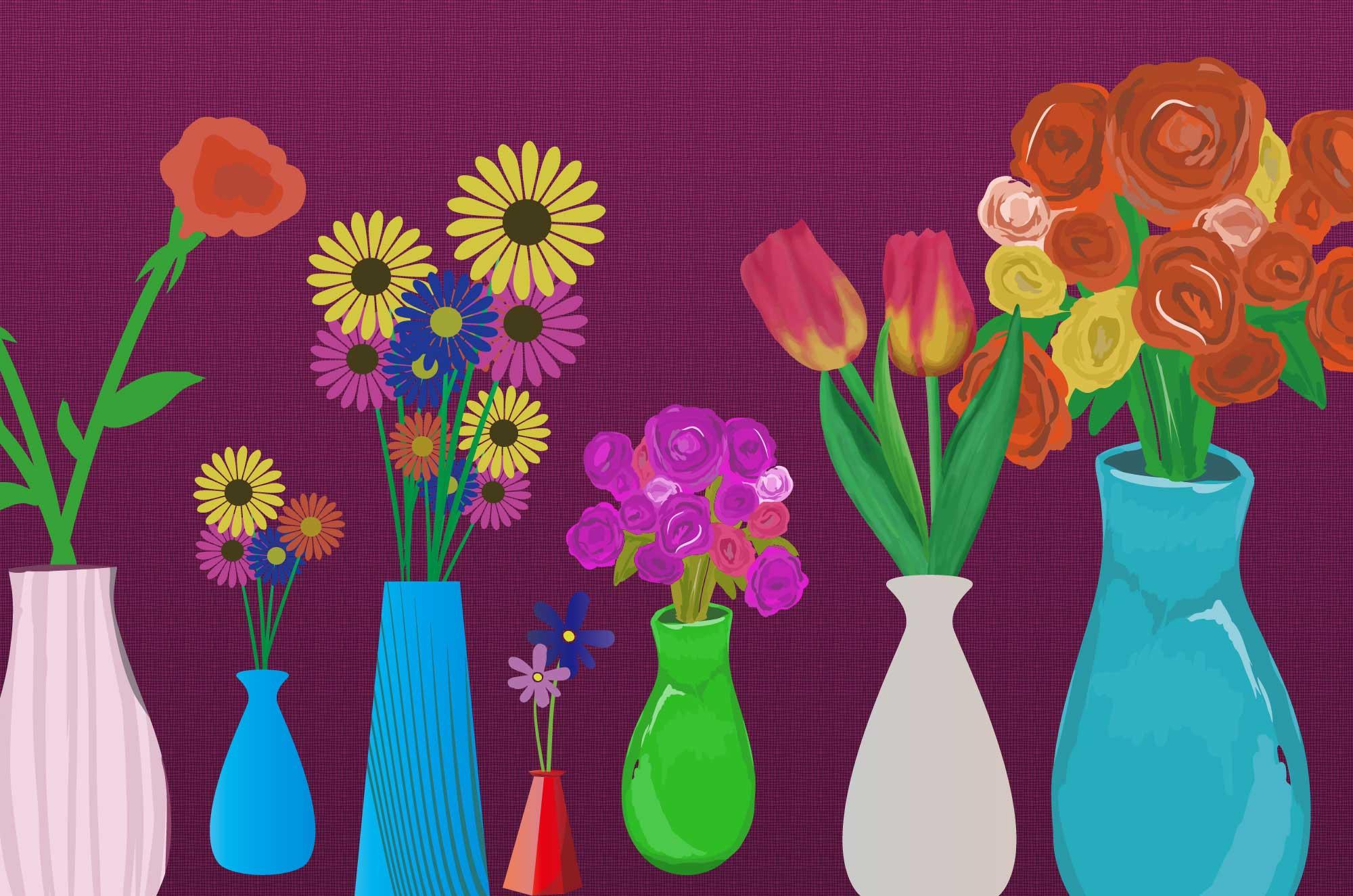 おしゃれな花瓶のイラスト - 無料の可愛いお花素材集