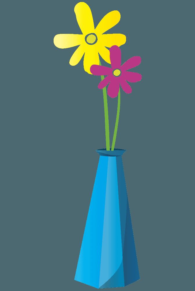 水色のおしゃれな花瓶と2凛の花のイラスト