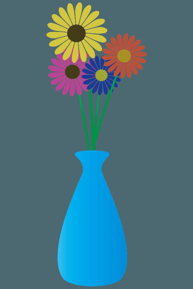 可愛いガーベラと水色の花瓶のイラスト