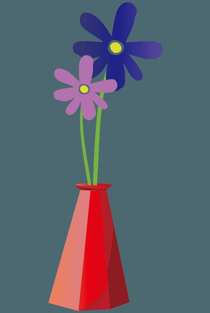 赤い花瓶と可愛い花のイラスト