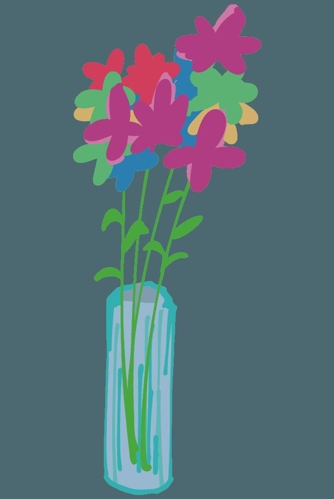 たくさん花が活けられた花瓶のイラスト